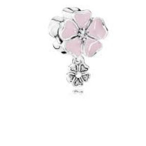 PANDORA Poetic Blooms Pink Enamel and Clear CZ NWT